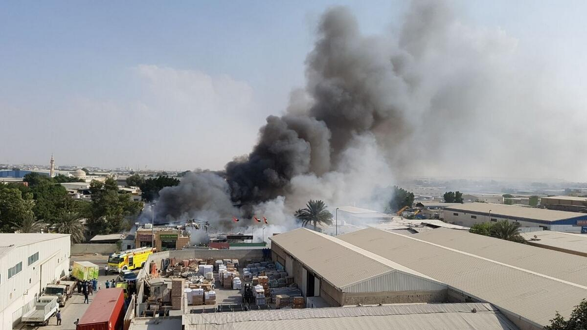 Video: Firefighters put out blaze in Sharjahs Industrial Area