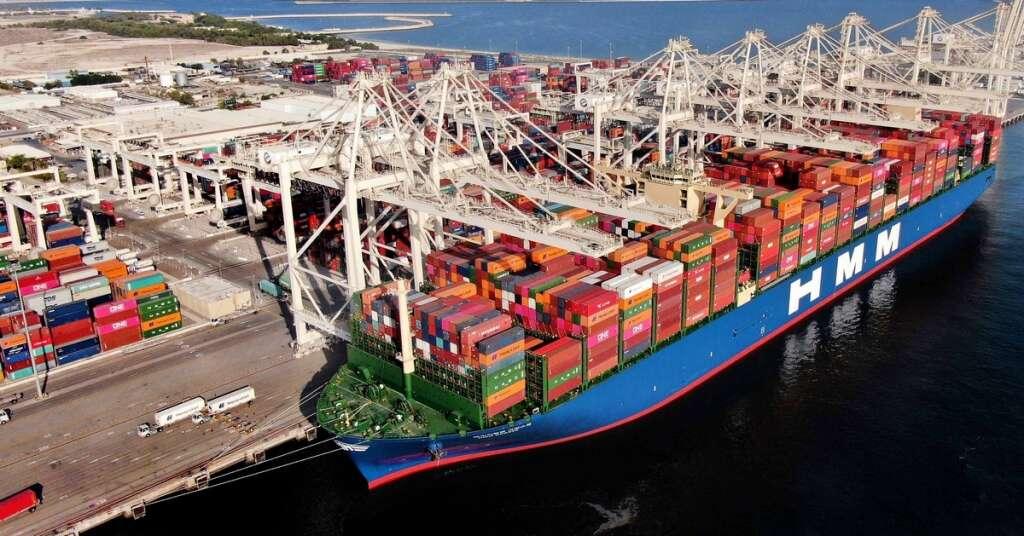 Mega, container, ship, hmm Gdansk, docks, jebel ali port, dubai