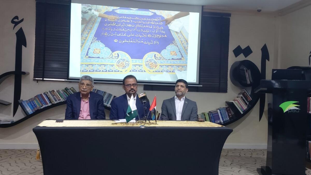 Irfan Mustafa, Shahid Rassam and Dr Faisal Ikram announce the 'world's largest Holy Quran' project at Pakistan Association, Dubai. KT Photo/Muzaffar Rizvi