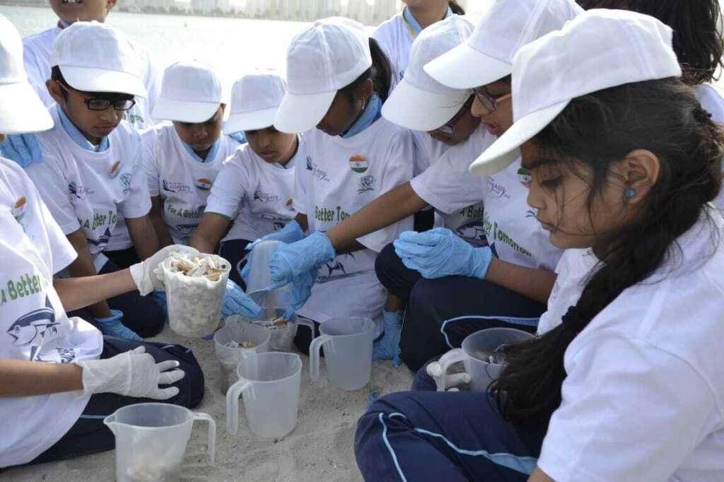 150, Dubai school, students, mark, Indian Republic Day, beach, clean up,  71st Indian Republic Day, Dubai Municipality