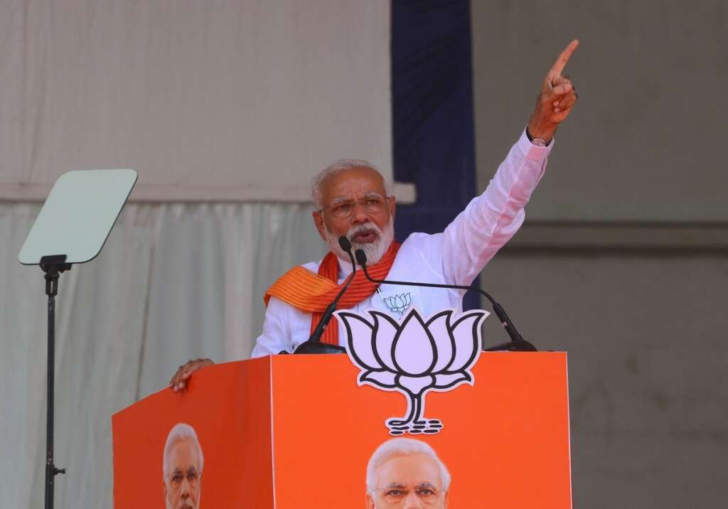 Indian Prime Minister Narendra Modi addresses a rally in Patan, some 110km from Ahmedabad in Indias western Gujarat state.-AFP