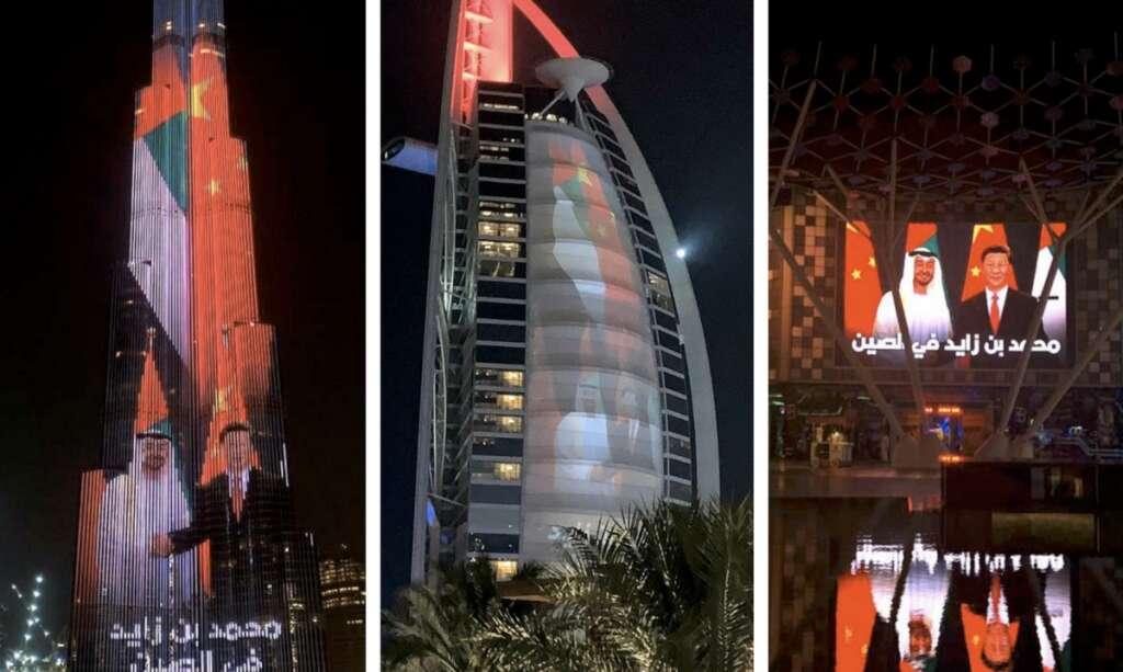 UAE landmarks light up to mark Sheikh Mohamed's China visit