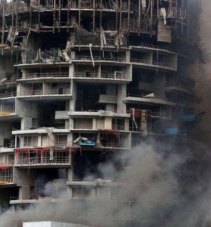 Smoke billowing from an under-construction building near Dubai