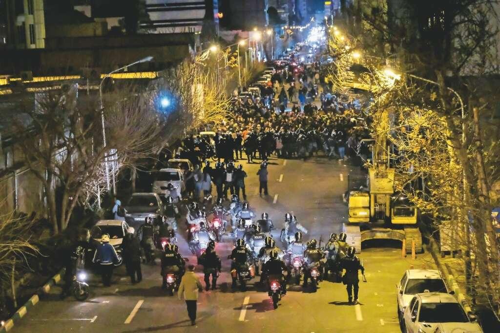 clerics, iran, protests, riot