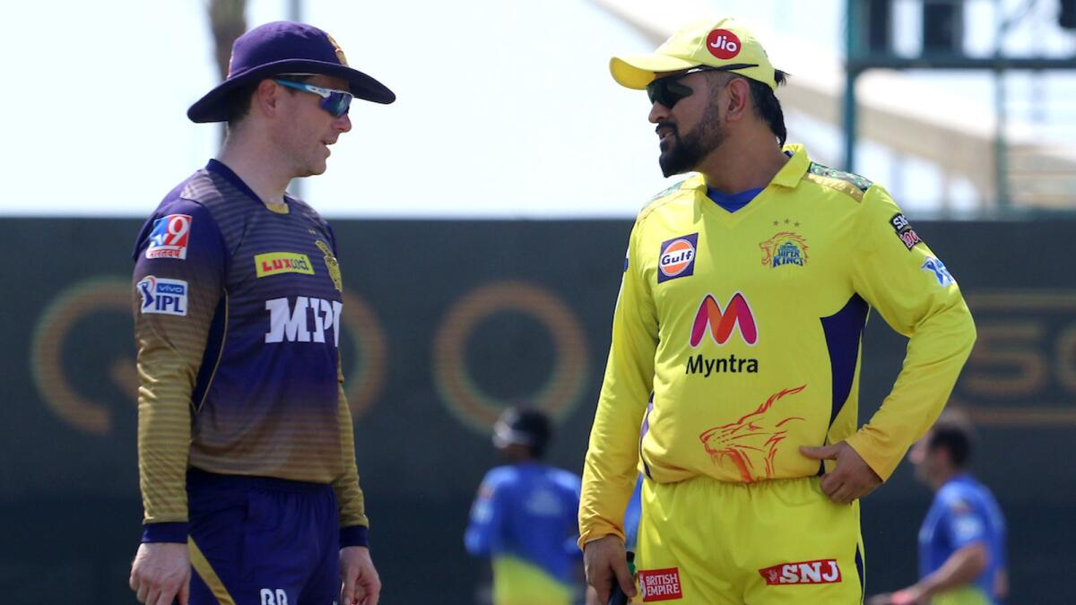 It will be MS Dhoni's (right) tactical nous against Eoin Morgan's brave Kolkata Knight Riders. — BCCI