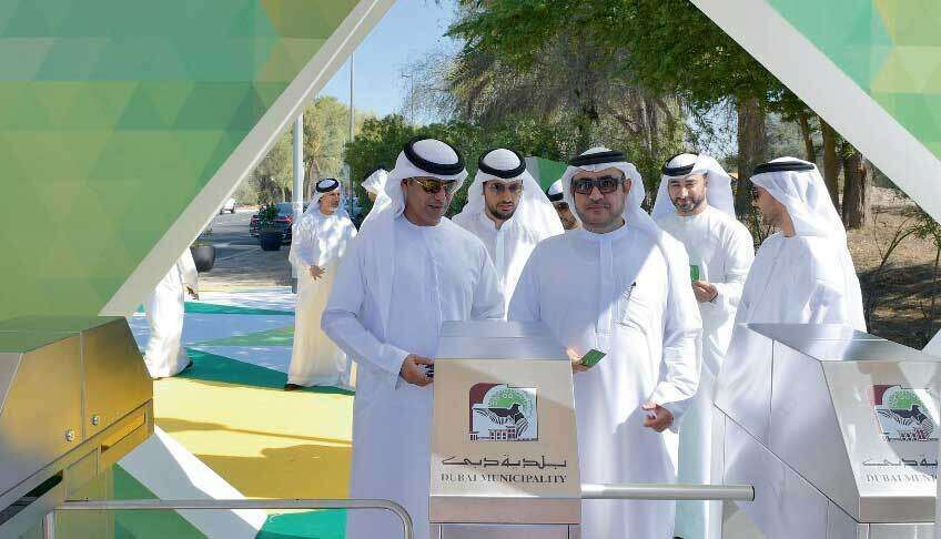 Top Dubai Municipality officials during the launch of the smart gate system at Mushrif Park in Dubai.
