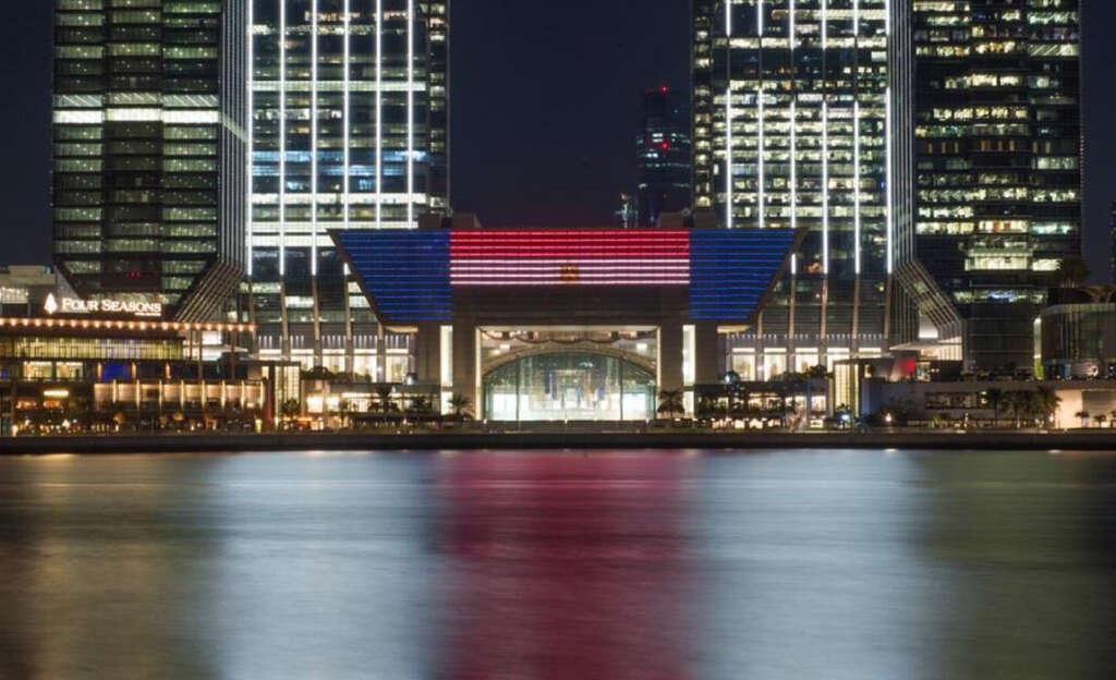 landmarks, uae, egyptian flag, iconic, Abdel Fattah El Sisi, light up, flag