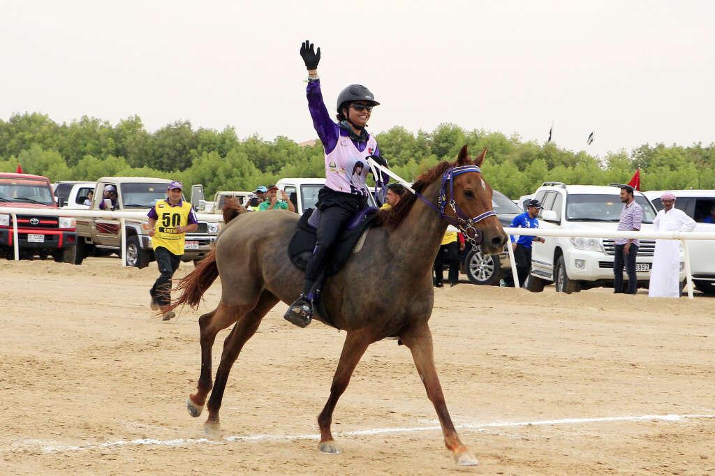 Nouf Abdul Reda landed victory for Al Maghaweer Stables in Al Wathba, Abu Dhabi on Friday.
