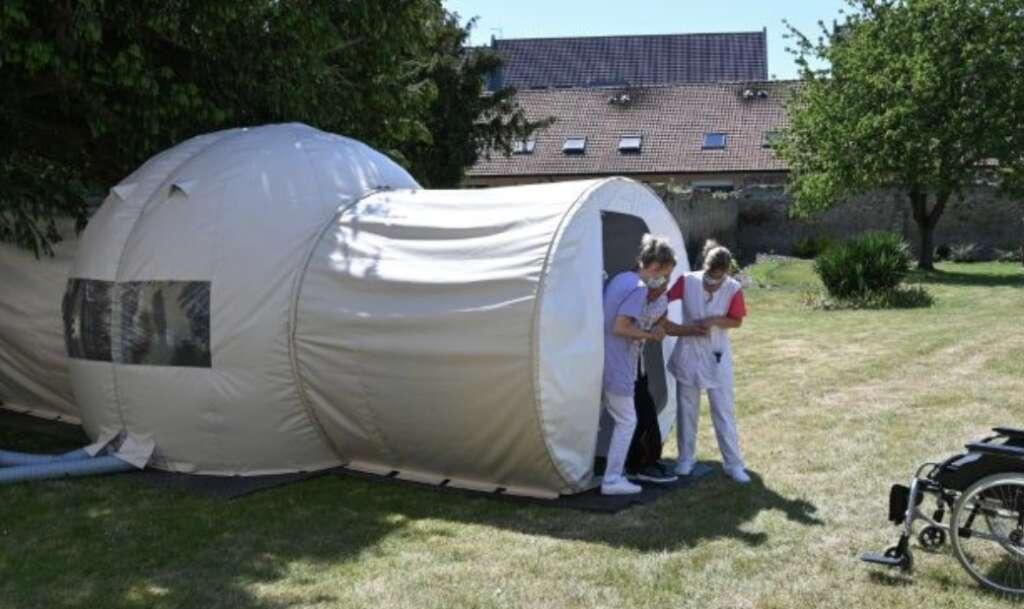 bubble, coronavirus, Plastic bubble, French nursing home