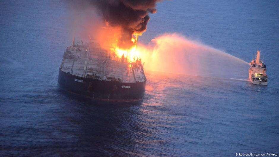 India, firefighting chemicals, retardant, stricken, oil, tanker, sri lanka