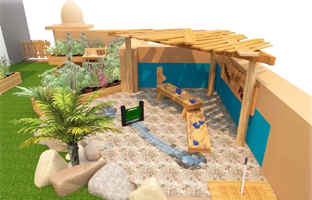 The Unique Play Area In Nursery Features A Variety Of Climbing Options Sand And Water Areas Open Es