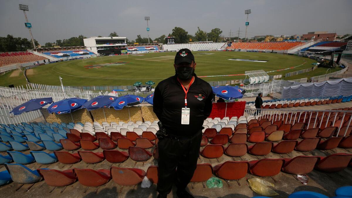 A Pakistani police officer seen at the Rawalpindi Cricket Stadium. (AP)