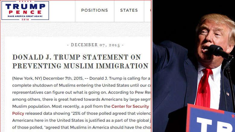 Muslim ban proposal RESTORED on Trumps website