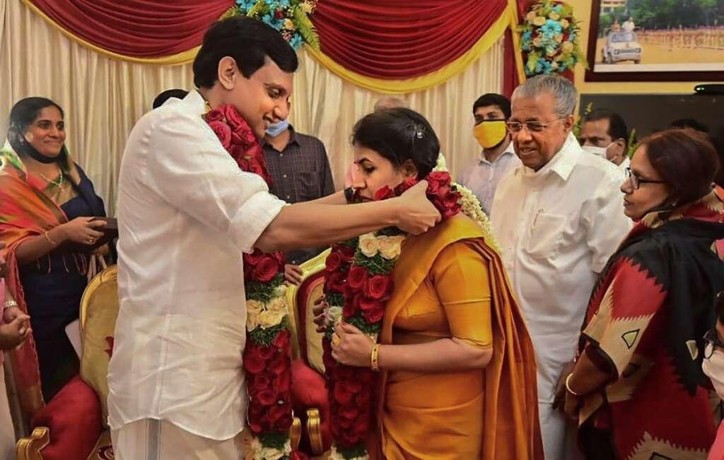 Pinarayi Vijayan, Veena, Mohammed Riyas, marriage