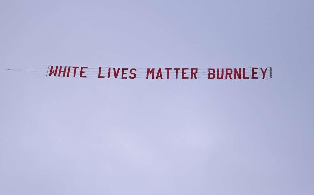 Burnley, condemn, White Lives Matter, banner, plane, Manchester City, Etihad Stadium, Premier League, football, George Floyd, death