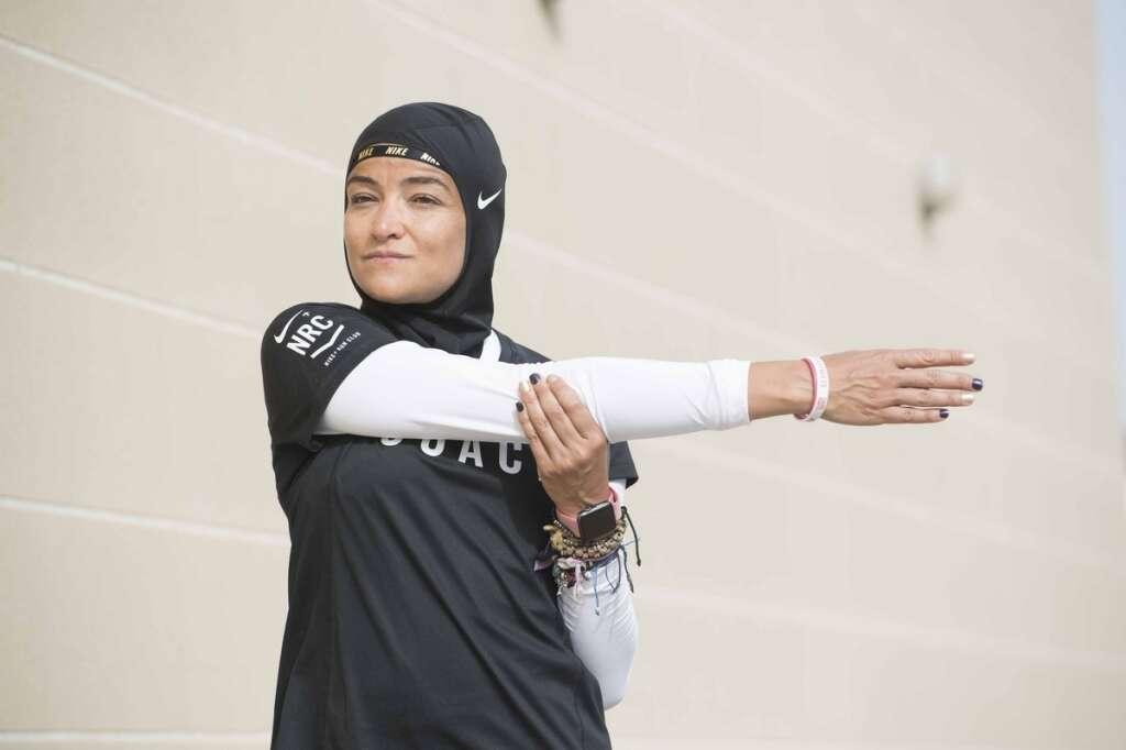 Manal Rostom, Dubai Fitness Challenge, Apple Watch UAE personal trainer hijab