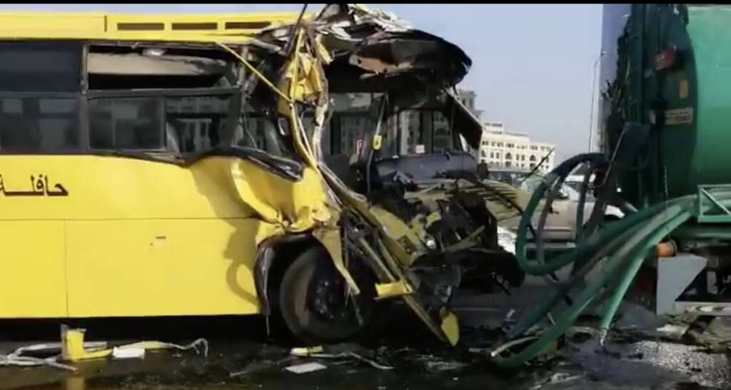 15 students hurt as school bus collides with tanker in Dubai