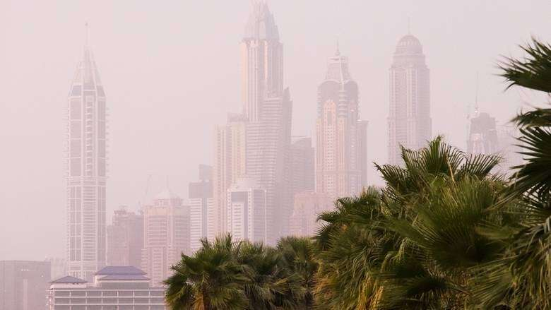 partly cloudy, hazy, sunny, national center of meteorology, uae, weather