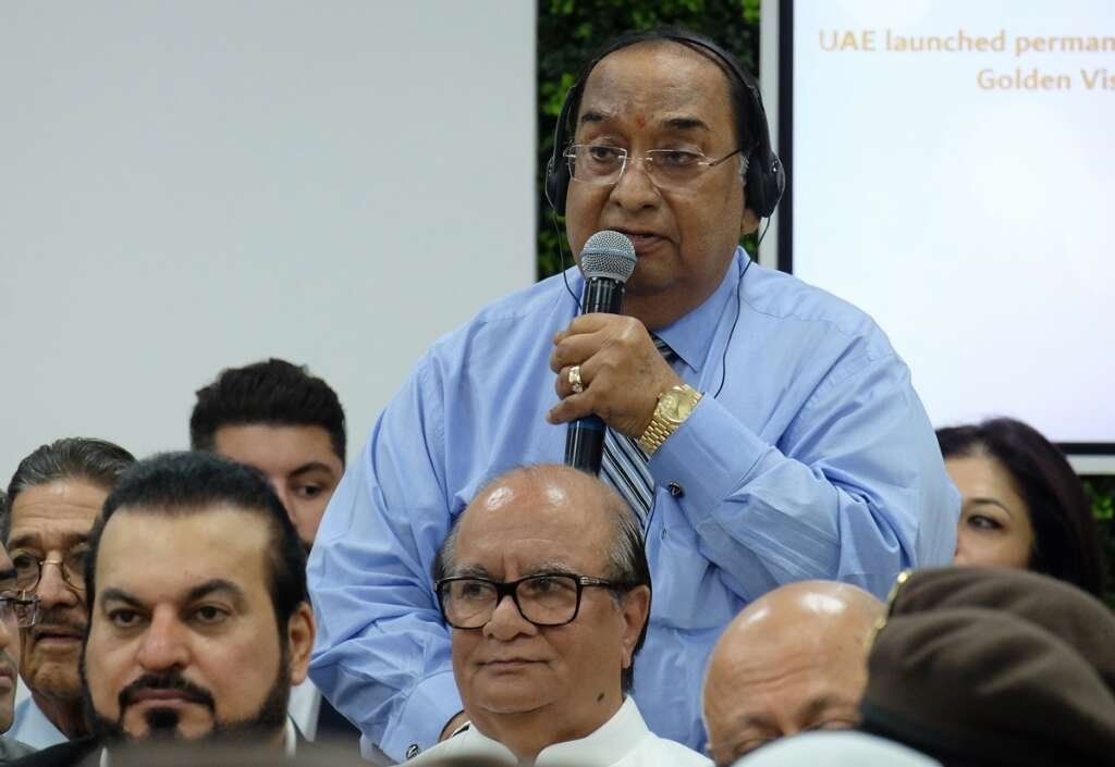 Vasudev Shamdas Shroff, chairman of the Regal Group of Companies addressing in the press conference on UAE Gold Card at GDFRA headquarters in Dubai.- Photo by Shihab