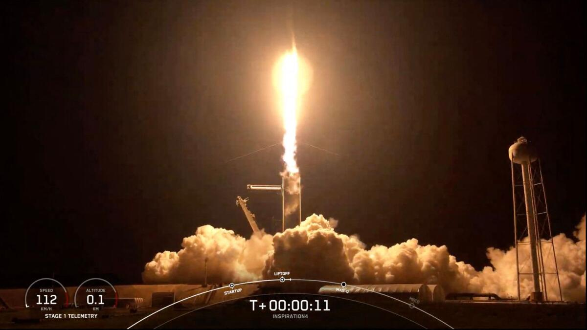 Video: SpaceX launches 4 civilians on private Earth-circling trip
