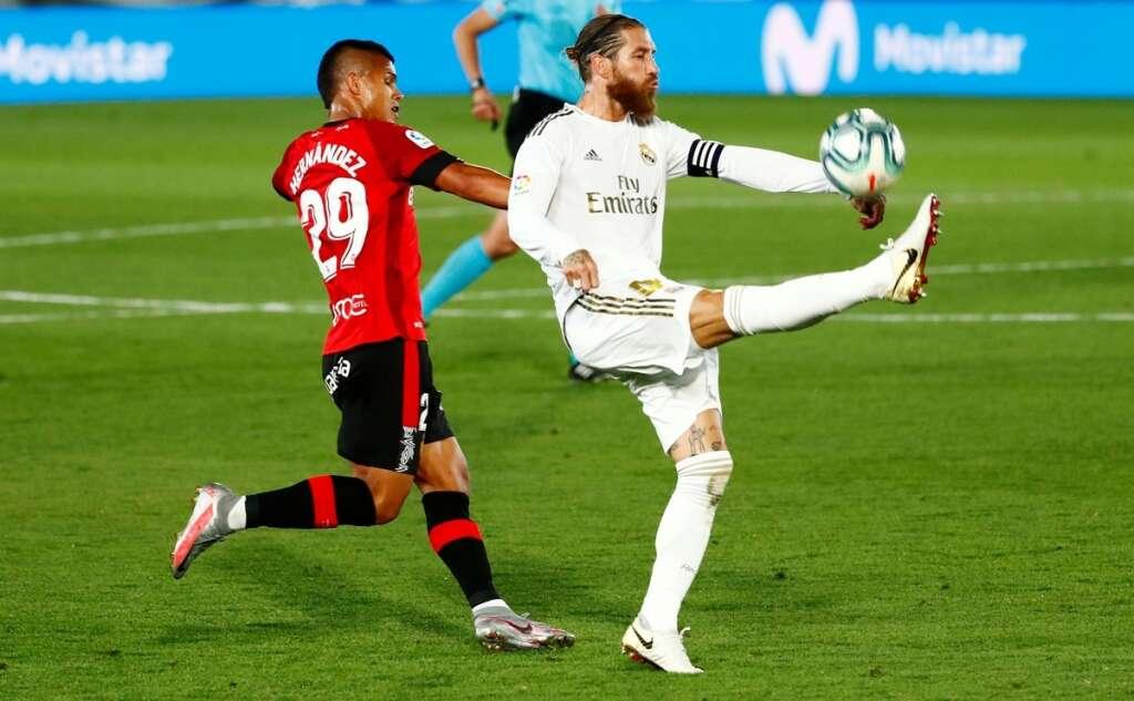 Sergio Ramos, free-kick, Real Madrid, top, La Liga, Spain, Vinicius Junior, Real Mallorca, Alfredo di Stefano Stadium