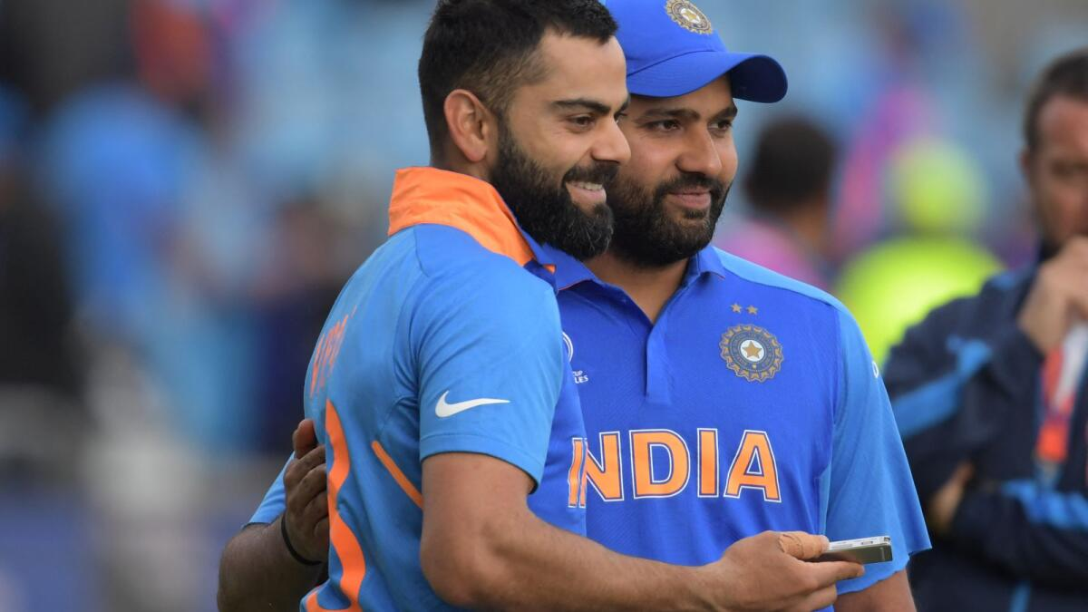 Rohit Sharma (right) and Virat Kohli, the two Indian superstars. (AFP file)