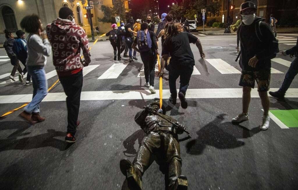 US, racial, statues