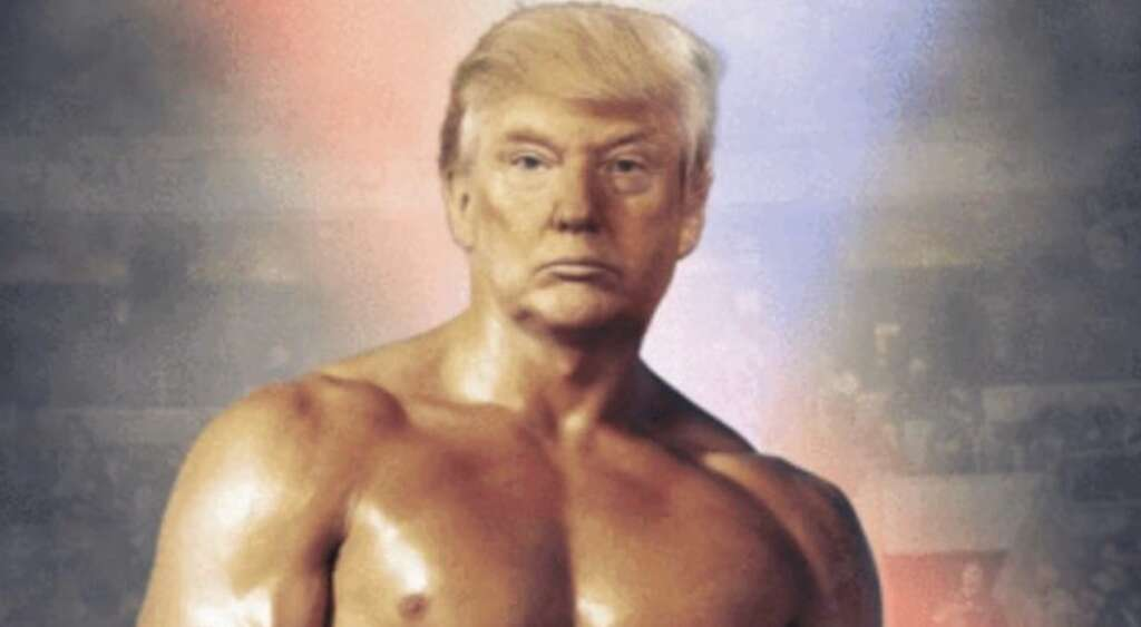 trump, tweet, photo, muscle, boxer, bare-chested, rocky