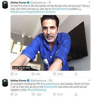Bollywood's Akshay Kumar supports COVID-19 Janta Curfew (https://images.khaleejtimes.com/storyimage/KT/20200321/ARTICLE/200329867/H1/0/H1-200329867.jpg&MaxW=300&NCS_modified=20200707074648