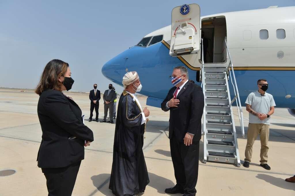 mike Pompeo, heads, home, middle east, tour, oman, uae, Israel, peace, treaty