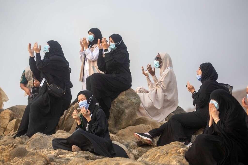 Haj 2020: Pilgrims scale Mount Arafat for peak of pilgrimage ...