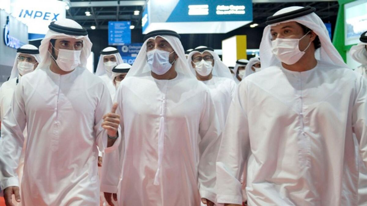 Sheikh Hamdan bin Mohammed bin Rashid Al Maktoum tours Gastech exhibition on Tuesday. — Wam