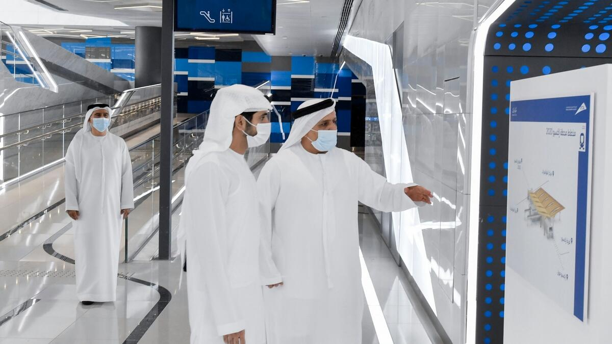 He then boarded a new Dubai Metro train featuring a revamped interior design. Their first stop was the Dubai Investment Park Station, the second underground station of Route 2020. The underground station spans 27,000sqm in area and extends 226 metres in length.