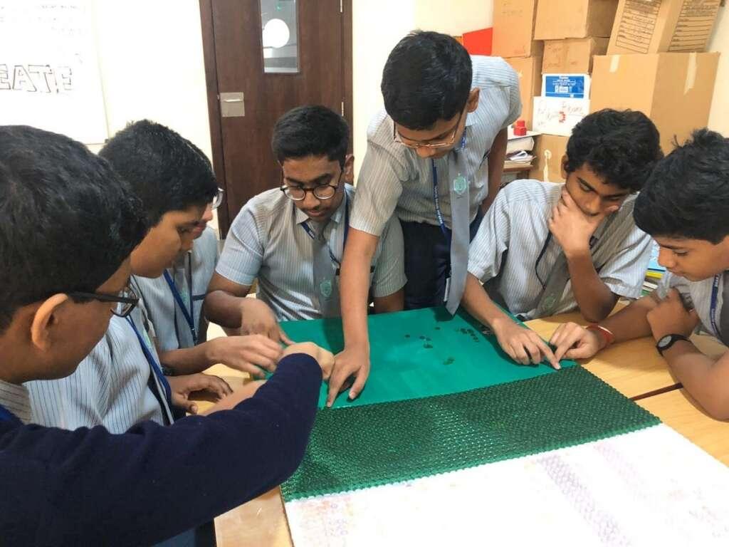 UAE flag, Art, class, creates, UAE flag, 65,000 buttons, masterpiece, national flag, Sharjah Indian School,
