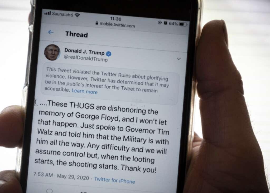 Twitter, Trump tweet, Minneapolis