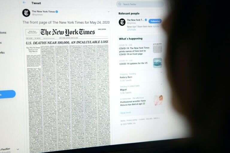 Coronavirus, covid19, NYTimes, marks, grim, US virus milestone, front page victim list,