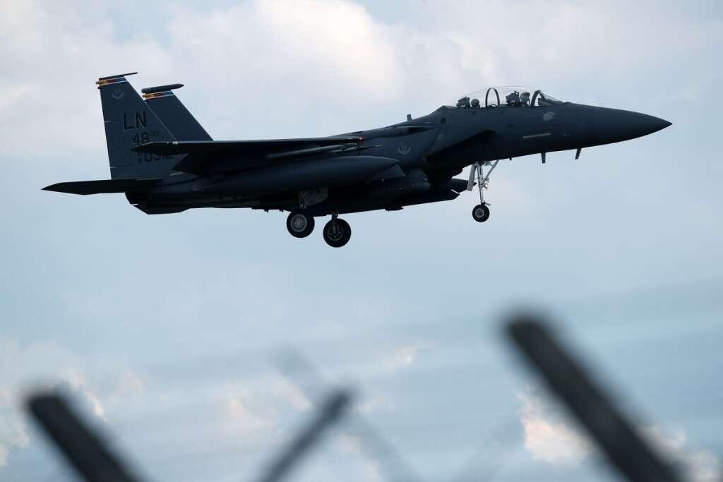 Body, pilot, US F-15C Eagle fighter jet, crashed, North Sea, base, Mildenhall, eastern England