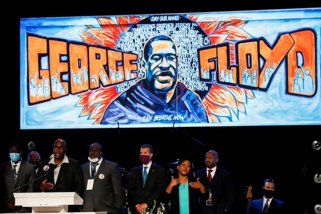 Hundreds, mourners, tribute, George Floyd, Minneapolis, memorial