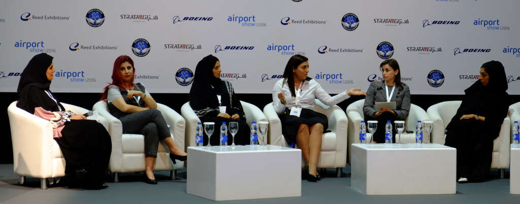 Saud Al Shamsi; Talar Faiq; Dina Beljaflah, vice-president,  Women in Aviation International; Danna Salloum, communications director, Boeing; Sara Al Ahbasi, senior procurement manager, Strata Manufacturing; Dr Nadina Itani, managing partner, Aviation Min