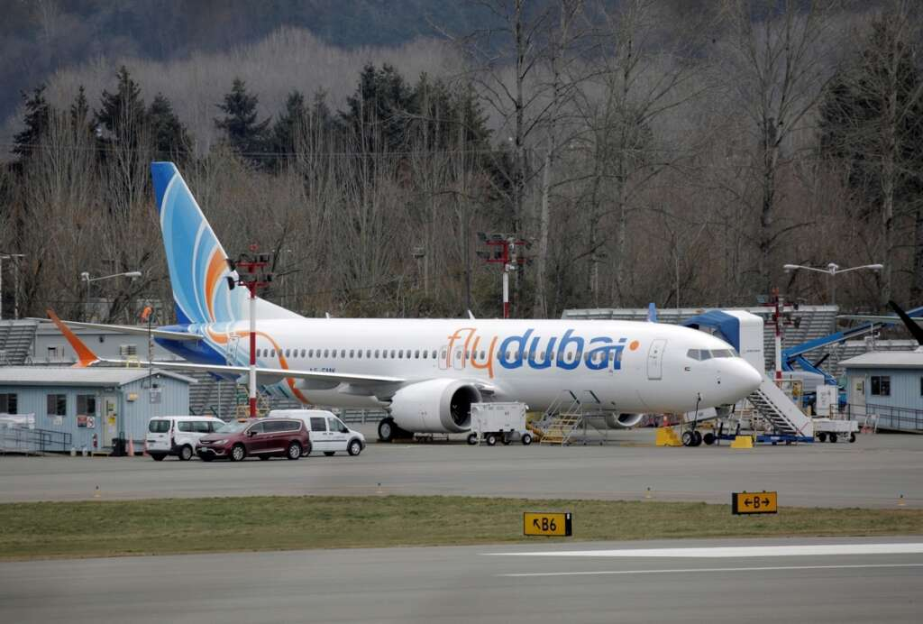 A Boeing 737 Max aircraft bearing the logo of flydubai is parked at a Boeing production facility in Renton, Washington, US.-Reuters