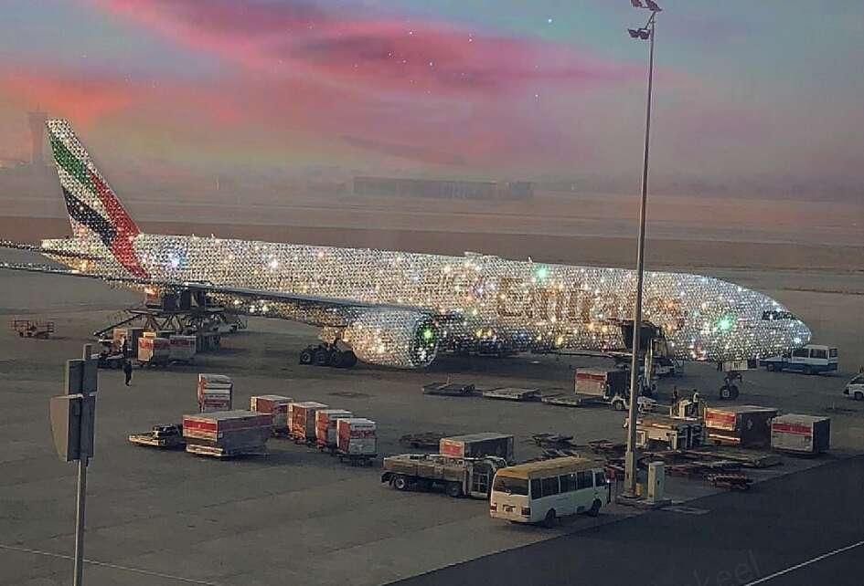 Shine bright like a diamond: Emirates plane dazzles