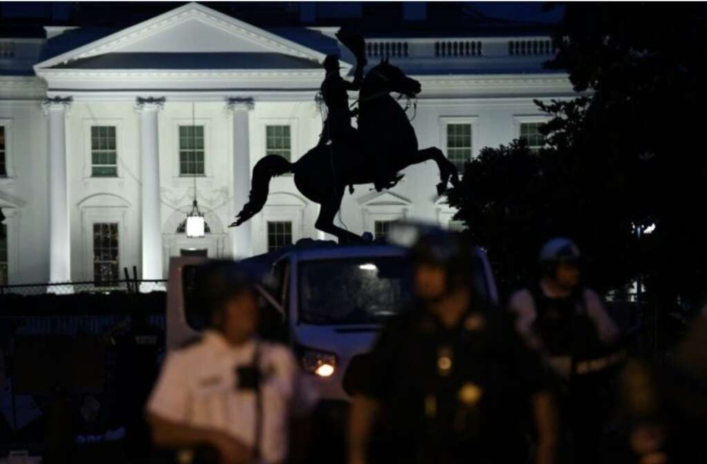 demonstrator, statue, George Floyd, protest, White House,  Andrew Jackson, Donald Trump