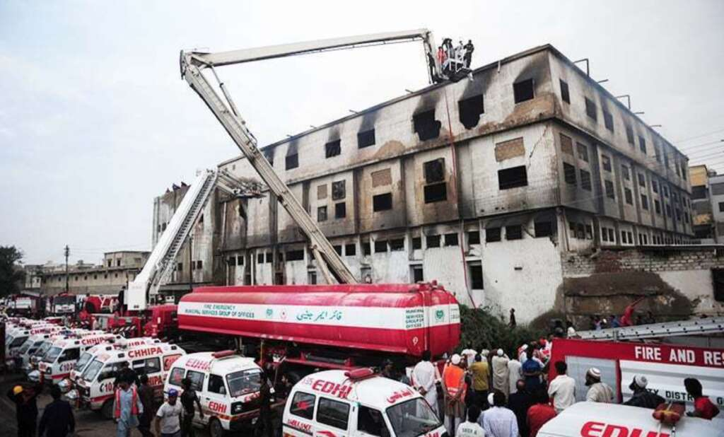 Pakistan factory fire, 260 killed in factory fire, karachi, arson, garments factory