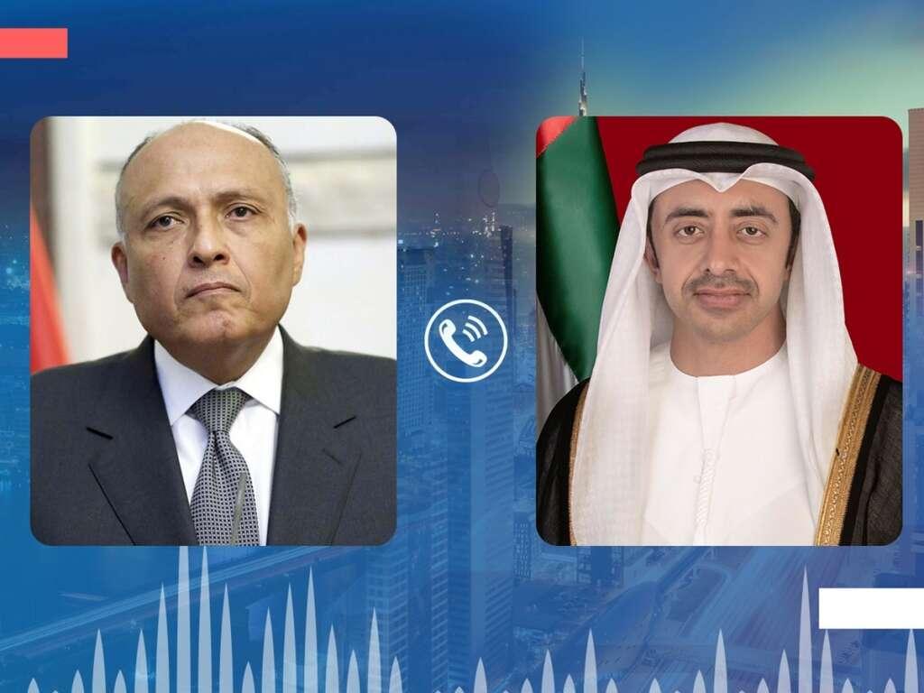 UAE, Sheikh Abdullah bin Zayed Al Nahyan, Sameh Shoukry, Egypt, concern, Libya, ceasefire, fighting, call