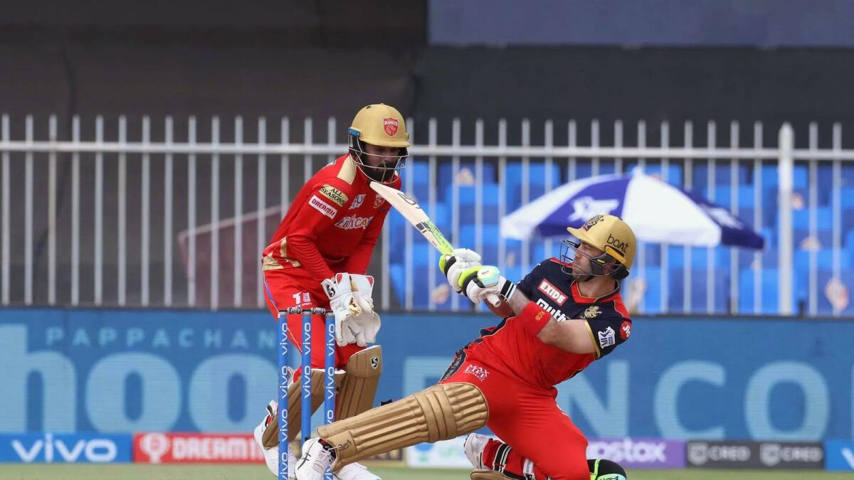 Royal Challengers Bangalore's Glenn Maxwell plays a shot against the Punjab Kings in Sharjah on Sunday. —BCCI