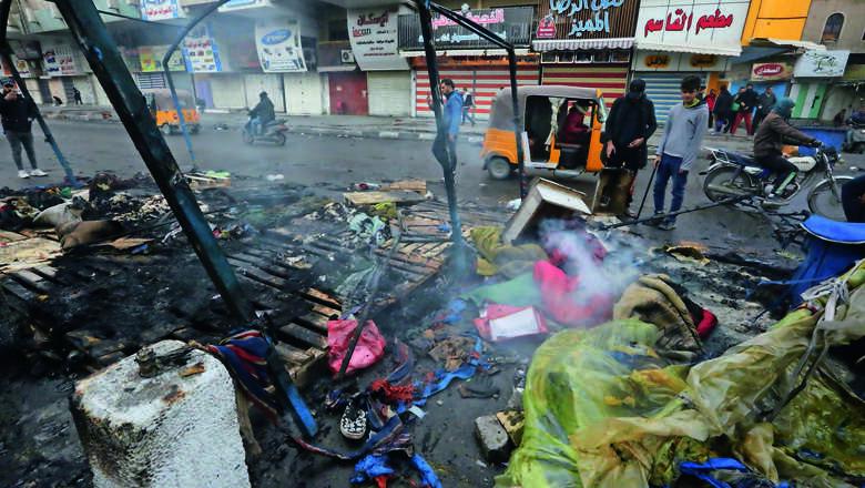 iraqi, protests, four shot dead