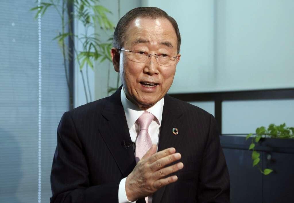 Former UN Secretary-General Ban Ki-moon speaks during an interview.-AP