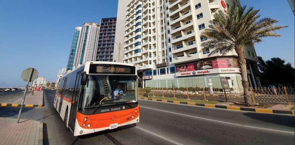 ajman transport, students, public transport, 30% discount, buses, bus stop, university, college