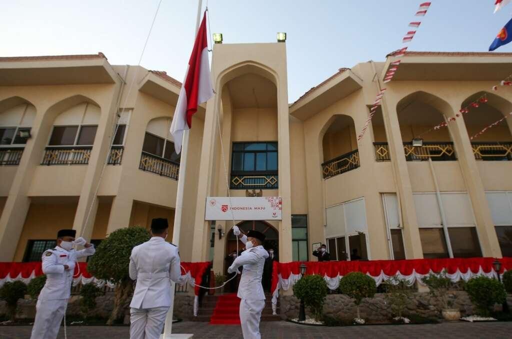 Indonesia, UAE, Abu Dhabi, embassy, Independence Day, flag ceremony