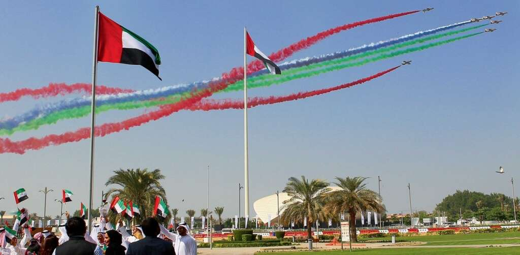 A mesmerising performance by the aerobatic team over the Union House in Dubai displaying the colours of the UAE flag as part of the UAE Flag Day celebrations on Thursday. — Photo by Juidin Bernarrd